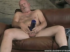 Old gay daddy uses fat cock to fuck huge filthy fleshlight