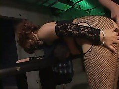 Young asian chick in fishnets gets pussy vibrator