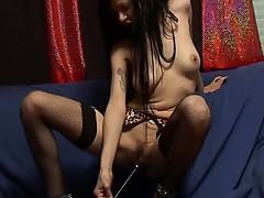 Naughty slender brunette slut undresses and plays pussy solo show