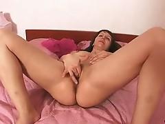 Amateur brunette milf lana gets her pink dildo to practice