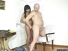 Hot brunette tranny fills tight asshole of bald guy