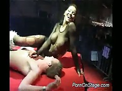 Lovely brunette stripper in stockings hot porn show on stage