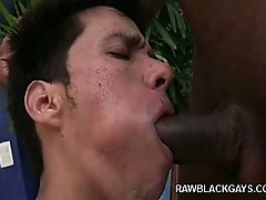Horny latino sucking his friend cock by the pool