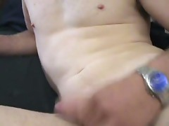 Horny dude is jerking his small cock