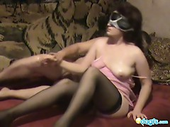 Smooth ass brunette milf in stockings blindfolded hard banging