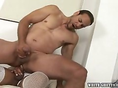 Wild man gets wild on this super cute transsexual