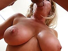 Large boob Blonde milf titty fucking