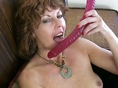 Hot brunette milf masturbation with dildo