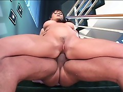 Busty brunette fucked hard in both holes