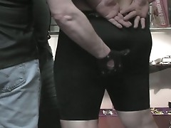 Nasty fat gay daddies hardcore mouth and anal pumping threesome