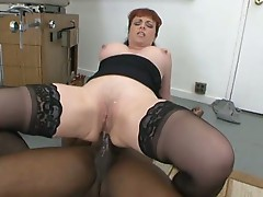 Horny milf slut rides a big black cock in her ass