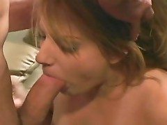 Cock loving cum eating blonde whore opens wide to welcome huge cock