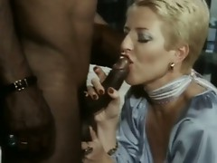 Short haired blonde slut sizzles hard for monster black cock
