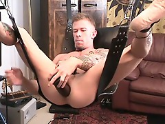 Dick-hungry hunk stuffs ass with huge dildo