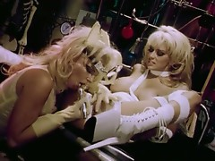 Jenna in laboratory, gets her pussy fucked with lesbian dildo
