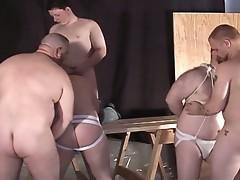Two bondage guys fucked roughly by three naughty guys!