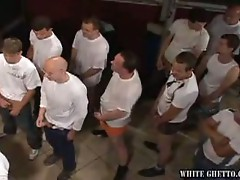 Hot brunette sucking old cock while others wait in line