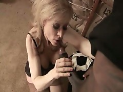 Blonde granny chick nina hartley sucks down big black cock