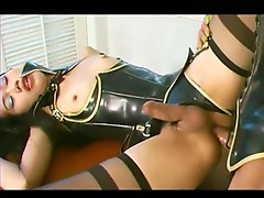 Satin ladyboys love ass fucking action