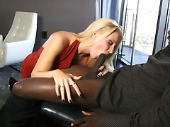 Blonde babe hornily sucks on big, fat, black cock