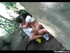 Voyeur Tapes A Teen Riding Her BF In The Forest