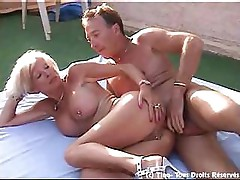 Eva Delage sucks on a hard cock and then takes it in the ass
