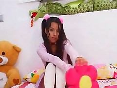 Aswesome Latina teen is masturbating and showing her young pussy