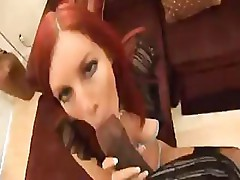 MILF redhead uses her hot body to suck and fuck a hard cock