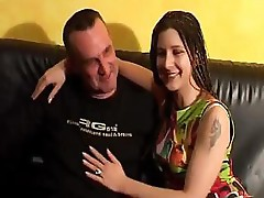 Hot couple on the couch do some heavy fucking and sucking for facial