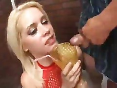 Hot blonde gets a little added extra to her drink from many