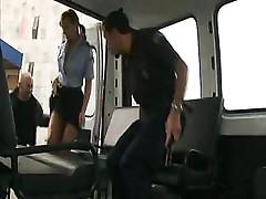 Ellen Saint sucks and fucks two hard cocks inside the van