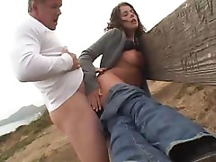 Penny Flame sucks on a cock and bends over to get fucked outside