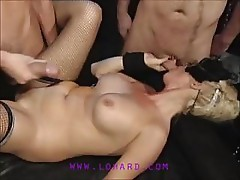 Masked players are sucking and fucking hard with many cocks