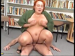 Chubby librarian granny fucking in library