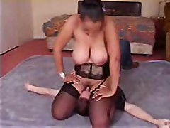 Girl in lingerie sits on his face and makes him eat her pussy
