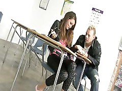 Cute teen Allie Haze shows of a nice ass and fucks in classroom