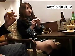 Asian babe is sucking and fucking two business guys and their cocks