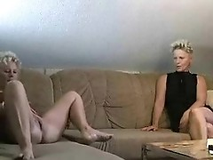 Two Blond Mature Sluts Share Stud