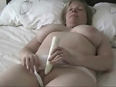 Mature milf caress her pink white pussy by dildo