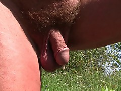 Prostate massage quickie -outdoors