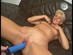 Blue dildo fuck blonde babe