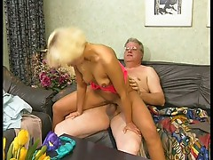 Sexy hot blonde fucks a geezer