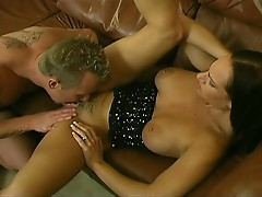 Hot brunette gets fucked by massive dick