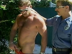 Nasty gay cops outdoor threesome
