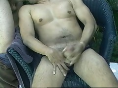 Horny daddies sucking poolside