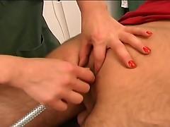Nasty blonde nurse taking patient's huge cock
