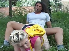 Horny blonde teen gets fucked outdoors