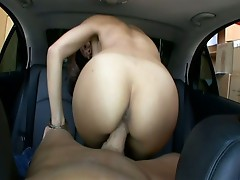 Asian hottie car blowjob fucking hardcore facial