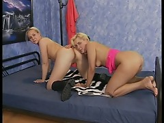 Lucky guy with two young babes having threesome