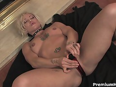 Blonde MILF teases as she pleases herself